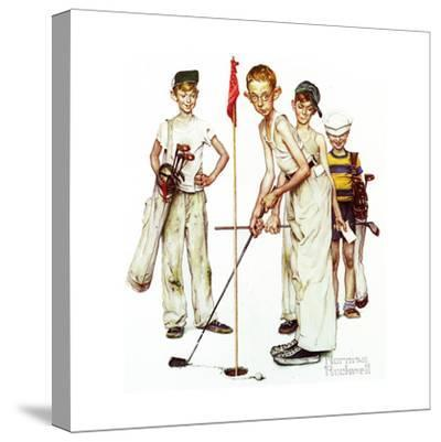 Four Sporting Boys: Golf-Norman Rockwell-Stretched Canvas Print