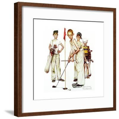 Four Sporting Boys: Golf-Norman Rockwell-Framed Giclee Print