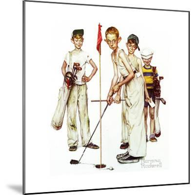 Four Sporting Boys: Golf-Norman Rockwell-Mounted Giclee Print