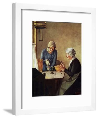 Fruit of the Vine (or Mother and Daughter Pouring Raisins at Table)-Norman Rockwell-Framed Giclee Print