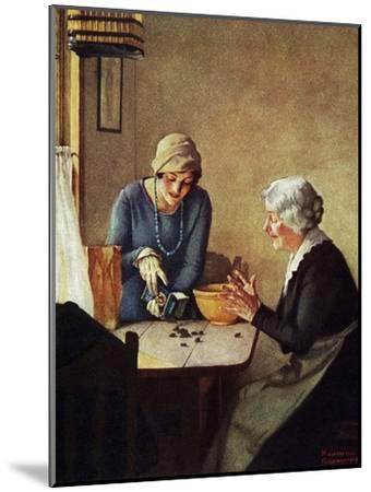 Fruit of the Vine (or Mother and Daughter Pouring Raisins at Table)-Norman Rockwell-Mounted Giclee Print