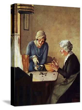 Fruit of the Vine (or Mother and Daughter Pouring Raisins at Table)-Norman Rockwell-Stretched Canvas Print