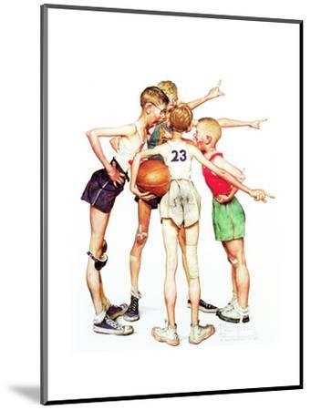 Four Sporting Boys: Basketball-Norman Rockwell-Mounted Giclee Print