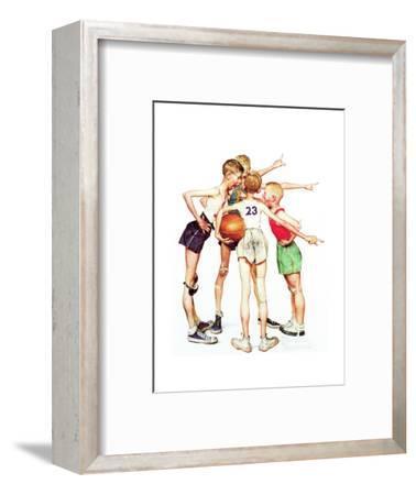Four Sporting Boys: Basketball-Norman Rockwell-Framed Giclee Print
