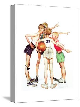 Four Sporting Boys: Basketball-Norman Rockwell-Stretched Canvas Print