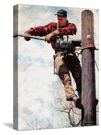 The Lineman (or Telephone Lineman on Pole)-Norman Rockwell-Stretched Canvas Print