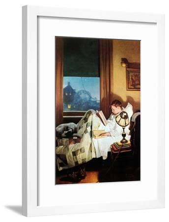 And Every Lad May Be Aladdin (or Reading in Bed)-Norman Rockwell-Framed Giclee Print