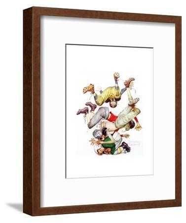 Four Sporting Boys: Football-Norman Rockwell-Framed Giclee Print