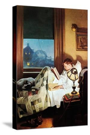 And Every Lad May Be Aladdin (or Reading in Bed)-Norman Rockwell-Stretched Canvas Print