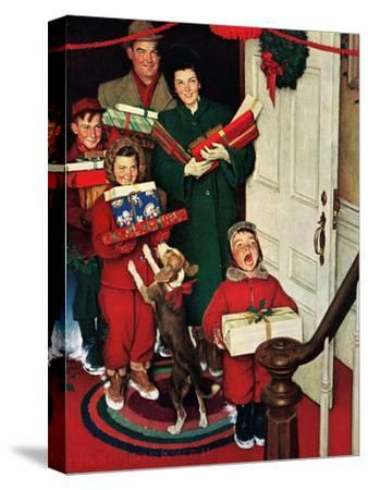 """""""Merry Christmas, Grandma!'-Norman Rockwell-Stretched Canvas Print"""