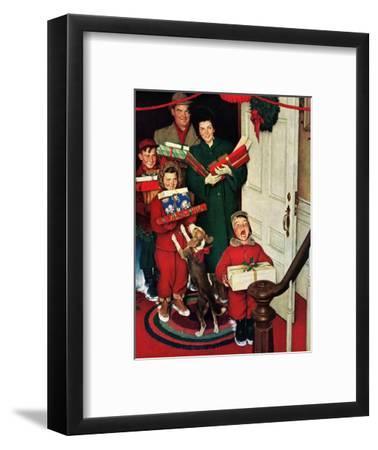 """Merry Christmas, Grandma!'-Norman Rockwell-Framed Premium Giclee Print"