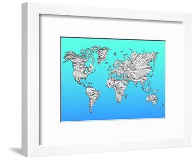World Map Hand Drawn Flower Floral Design-benjavisa-Framed Art Print