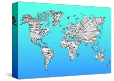 World Map Hand Drawn Flower Floral Design-benjavisa-Stretched Canvas Print
