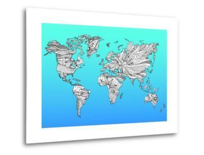 World Map Hand Drawn Flower Floral Design-benjavisa-Metal Print