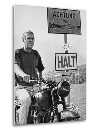 Steve McQueen in a Scene from the Great Escape on Motorcycle-Movie Star News-Metal Print