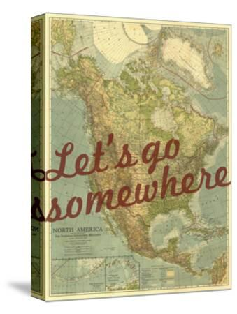 Let's go Somewhere - 1924 North America Map-National Geographic Maps-Stretched Canvas Print