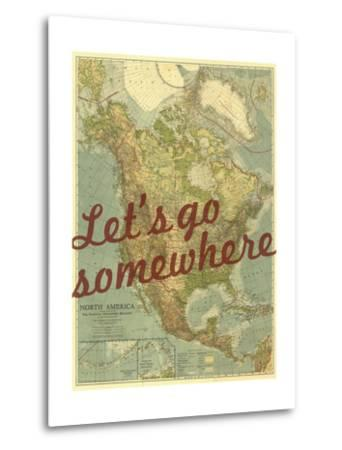Let's go Somewhere - 1924 North America Map-National Geographic Maps-Metal Print