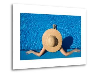 Woman in Hat Relaxing at the Pool-haveseen-Metal Print