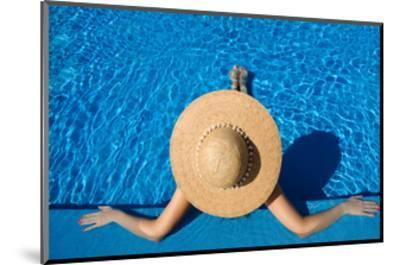 Woman in Hat Relaxing at the Pool-haveseen-Mounted Art Print