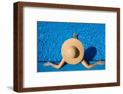 Woman in Hat Relaxing at the Pool-haveseen-Framed Art Print