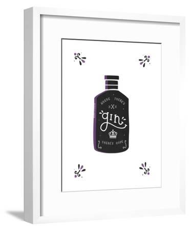 Where There's Gin There's Hope-Busy Being-Framed Art Print