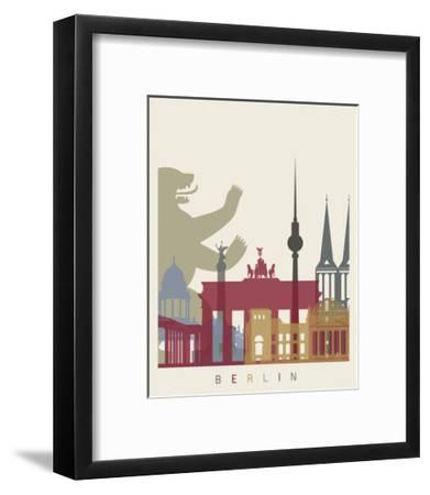 Berlin Skyline Poster-paulrommer-Framed Art Print