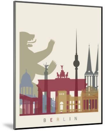 Berlin Skyline Poster-paulrommer-Mounted Art Print