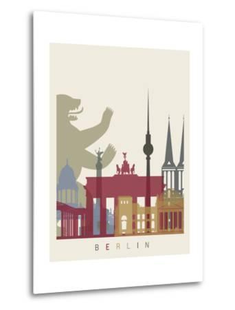 Berlin Skyline Poster-paulrommer-Metal Print