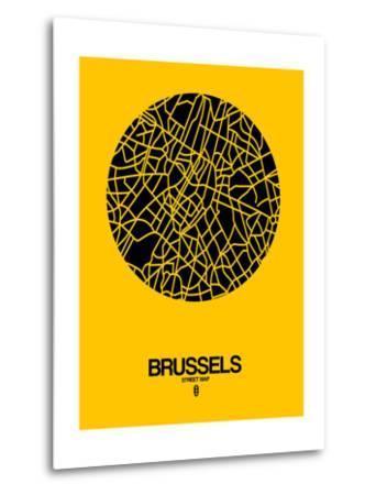 Brussels Street Map Yellow-NaxArt-Metal Print