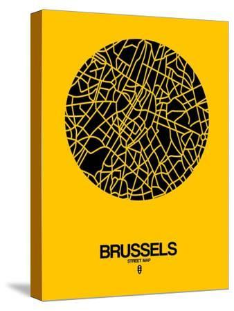 Brussels Street Map Yellow-NaxArt-Stretched Canvas Print