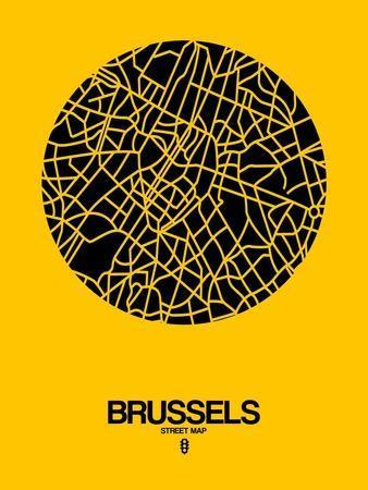 Brussels Street Map Yellow-NaxArt-Art Print