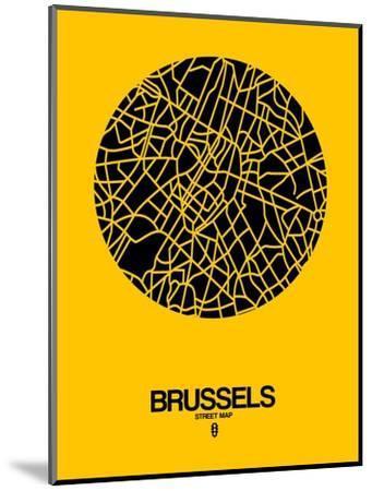 Brussels Street Map Yellow-NaxArt-Mounted Art Print