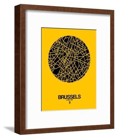 Brussels Street Map Yellow-NaxArt-Framed Art Print