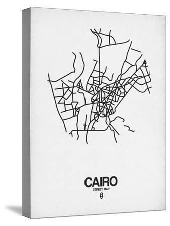 Cairo Street Map White-NaxArt-Stretched Canvas Print