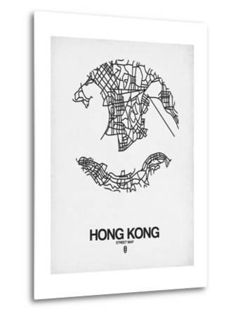 Hong Kong Street Map White-NaxArt-Metal Print