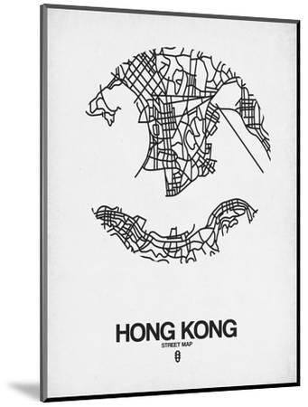 Hong Kong Street Map White-NaxArt-Mounted Art Print