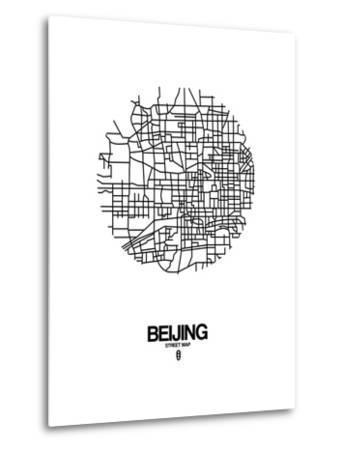 Beijing Street Map White-NaxArt-Metal Print