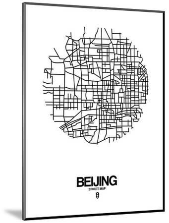 Beijing Street Map White-NaxArt-Mounted Art Print