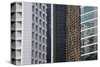 Bamboo Scaffolding, Hong Kong, China-Julie Eggers-Stretched Canvas Print