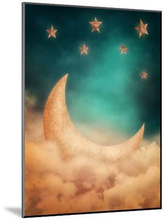 Moon And Stars-egal-Mounted Art Print