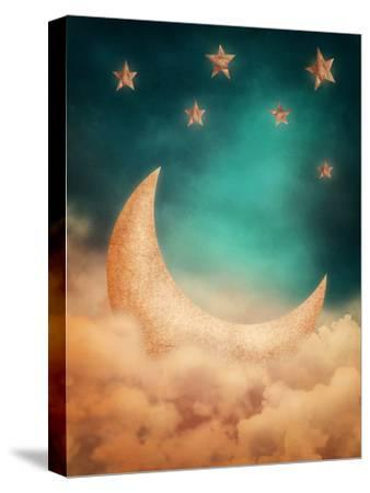 Moon And Stars-egal-Stretched Canvas Print