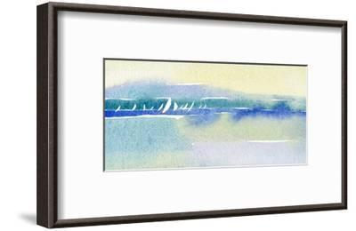 Watercolor with Many Sailboats and Shoreline--Framed Art Print