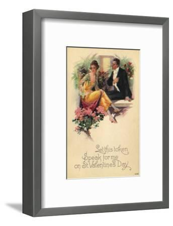 Adult Couple Sitting on Bench Talking with Flowers in Background--Framed Art Print