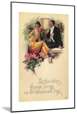Adult Couple Sitting on Bench Talking with Flowers in Background--Mounted Art Print