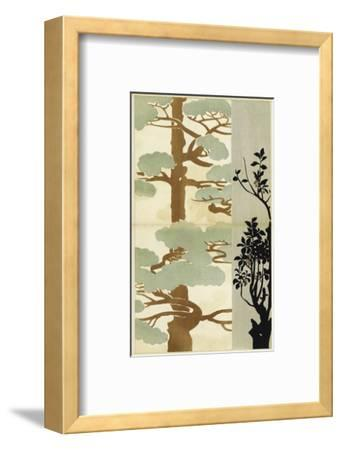 Watercolor Cypress Tree with Tree Silhouette--Framed Art Print