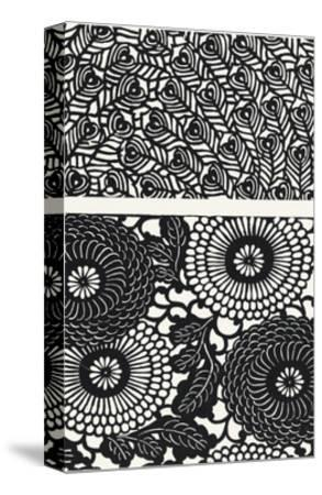 Two Patterns of Black and White Flowers and Leaves--Stretched Canvas Print