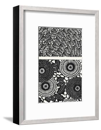 Two Patterns of Black and White Flowers and Leaves--Framed Art Print