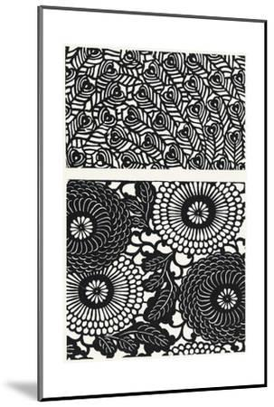 Two Patterns of Black and White Flowers and Leaves--Mounted Art Print