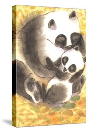 Mother Panda Bear Holding Her Cub on Orange Background--Stretched Canvas Print