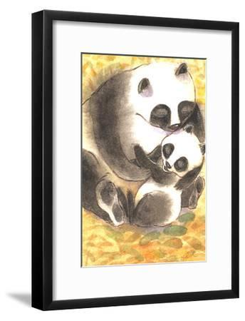 Mother Panda Bear Holding Her Cub on Orange Background--Framed Art Print